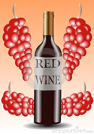 Free Vector Illustration Of Red Wine Bottle And Grapes Stock Photo - 13689100