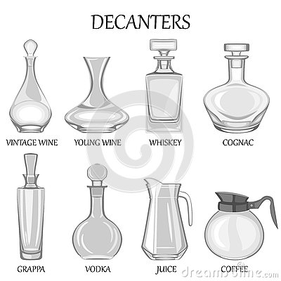 Free Vector Illustration Of Set Of Eight Decanters Of Various Drinks. Royalty Free Stock Image - 72899606