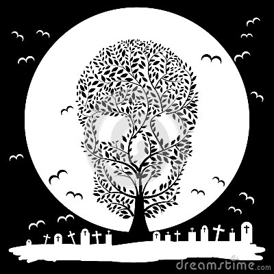 Free Vector Illustration Of Skull Tree Moon Graves Stock Photo - 44186360