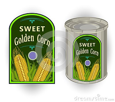 Free Vector Illustration Of Tin Can With A Label For Canned Sweet Corn With The Image Of Three Realistic Corn Cobs And Calligraphic Ins Royalty Free Stock Image - 119880196