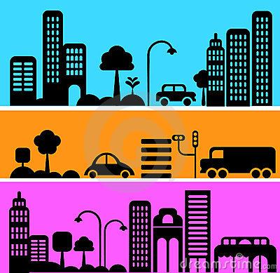 Free Vector Illustration Of Urban Street Scene Royalty Free Stock Photos - 12790358