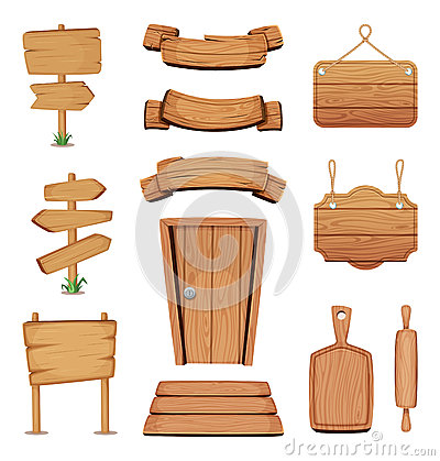 Free Vector Illustration Of Wooden Signboards, Doors, Plates And Other Different Shapes With Wood Texture Royalty Free Stock Images - 92018239