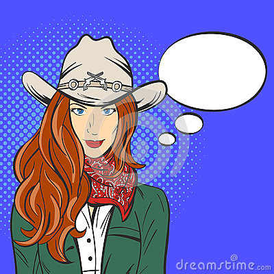 Free Vector Illustration Of Young Pretty Girl In Cowboy Hat. Pop Art Stock Photo - 69310170