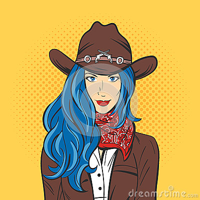 Free Vector Illustration Of Young Pretty Girl In Cowboy Hat. Pop Art Royalty Free Stock Images - 69310189