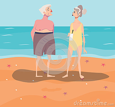 Vector illustration of old-aged couple having rest on beach Vector Illustration