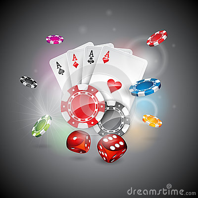 Free Vector Illustration On A Casino Theme With Color Playing Chips And Poker Cards On Shiny Background Royalty Free Stock Image - 54249546