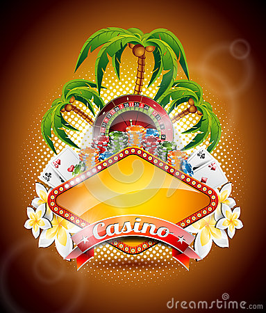 Free Vector Illustration On A Casino Theme With Roulette Wheel And Ribbon. Stock Image - 31291931