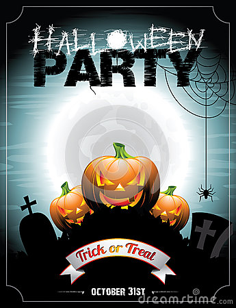 Free Vector Illustration On A Halloween Party Theme With Pumkins. Stock Images - 34062444