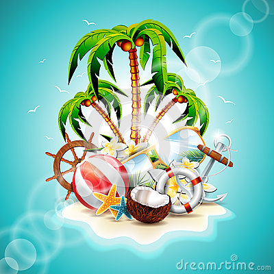 Free Vector Illustration On A Summer Holiday Theme Royalty Free Stock Photos - 38978978
