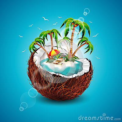 Free Vector Illustration On A Summer Holiday Theme With Coconut. Stock Image - 38313531