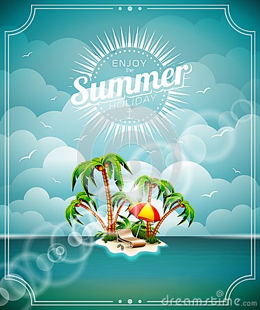 Free Vector Illustration On A Summer Holiday Theme With Paradise Island On Sea Background. Stock Image - 40882731