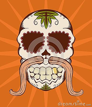 Vector illustration of orange sugar skull