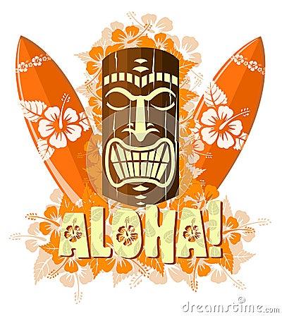 Vector illustration of orange tiki mask