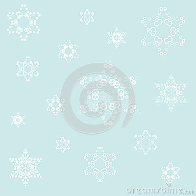 illustration of white flakes blue backgroun
