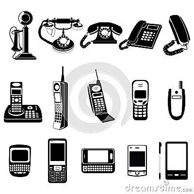 Phone evolution icons set