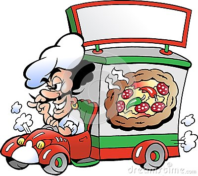 Vector illustration of an Pizza Delivery Service
