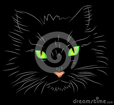 Vector illustration a portrait of a cat on a black