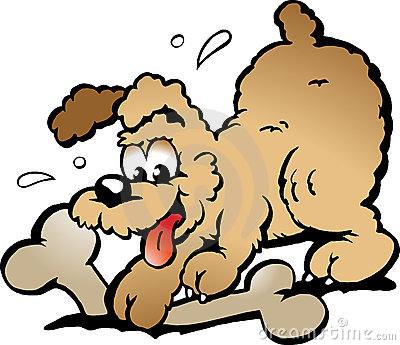 Vector illustration of an Puppy Dog with a bone