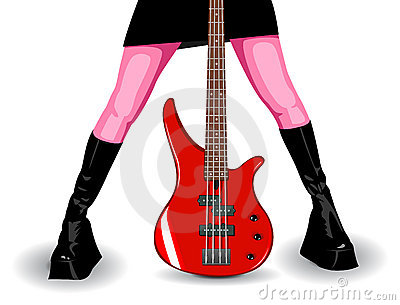 Vector illustration of red bass guitar and legs