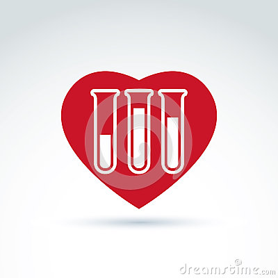 Vector illustration of a red heart symbol and test tube with a b Vector Illustration