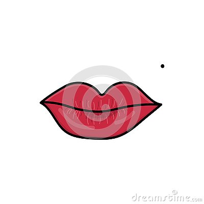 Red lips with mole. Vector illustration. Vector Illustration