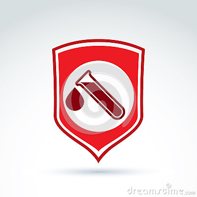 Vector illustration of a red shield symbol and test tubes with a Vector Illustration