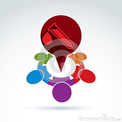 Vector illustration of a red speech bubble and test tube Vector Illustration