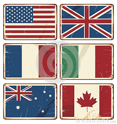 Vector illustration of retro tin signs with state flags