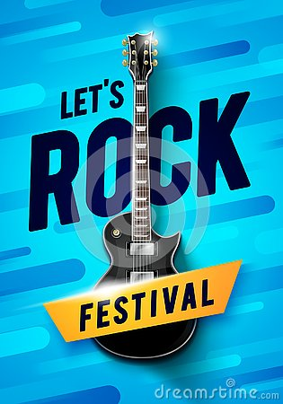Free Vector Illustration Rock Festival Concert Event Flyer Or Poster Design With Guitar And Vintage Effects Royalty Free Stock Photography - 132580697