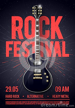 Free Vector Illustration Rock Festival Concert Party Flyer Or Posterdesign Template With Guitar, Place For Text And Cool Effects In The Royalty Free Stock Photos - 115308448