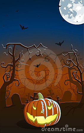 Vector illustration of scary pumpkin on the grave