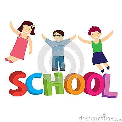 Vector illustration schoolchildren