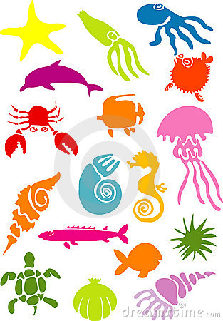 Vector illustration of sea creatures silhouettes