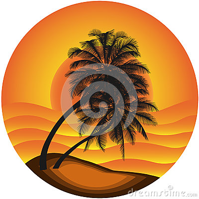 Vector illustration a sea landscape with a palm tr