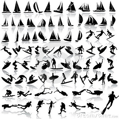 Vector illustration of sea sport, yachts, surfing,