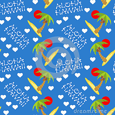 Free Vector Illustration Seamless Pattern For Hawaii Traveling. Tropical Island With Palm Tree. Royalty Free Stock Photos - 91841278