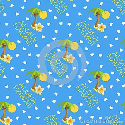 Free Vector Illustration Seamless Pattern For Hawaii Traveling. Tropical Island With Palm Tree. Stock Photo - 96056250