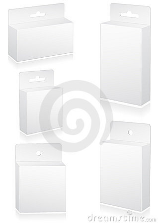 Vector illustration set of blank retail boxes with