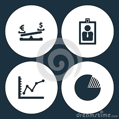 Vector Illustration Set Business Icons. Elements Dollar coin and euro balance, card id, diagram up and Graph pie icon Stock Photo