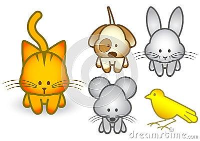 Vector illustration set of cartoon pet animals