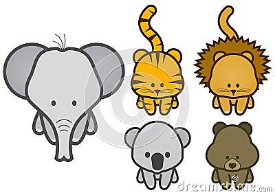 Vector illustration set of cartoon wild animals