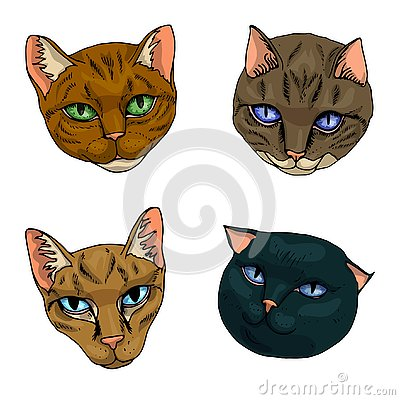 Vector illustration set of cats flat icons. Cartoon and realistic in brown, warm gray and sand colours isolated on white Vector Illustration