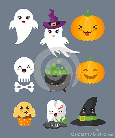 Vector illustration set of cute halloween elements, characters and icons for your design isolated on grey color Vector Illustration