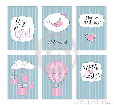 Free Vector Illustration.Set Of 6 Printable Cards. Perfect To Newborn Birthday Cards, Postcards, Stickers, Labels, Banners, Posters And Stock Photography - 112476562