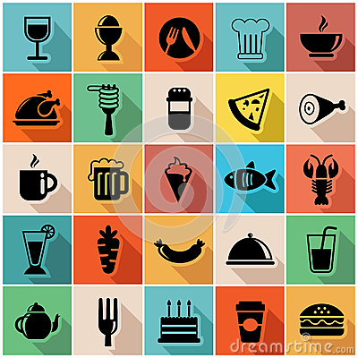 Free Vector Illustration Set Of Colorful Food Icons In Royalty Free Stock Photo - 37037635