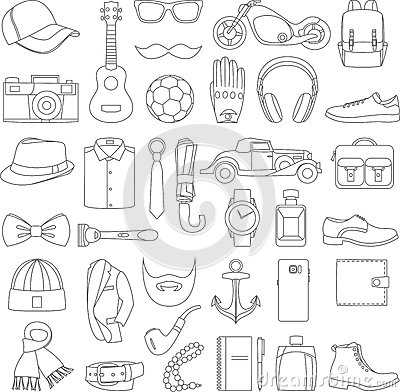 Free Vector Illustration Set Of Fashion Accessories And Men Clothing Style Royalty Free Stock Photography - 78524447