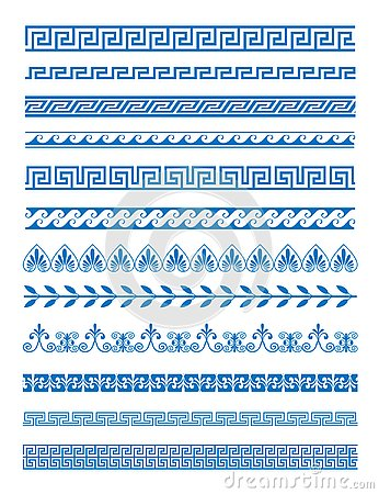 Free Vector Illustration Set Of Greek Patterns And Ornaments On White Background. Wave And Meander Decorative Elements Set Stock Image - 127195461