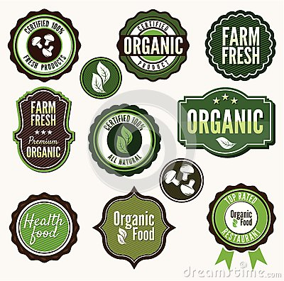 Set of organic and farm fresh food badges and labe