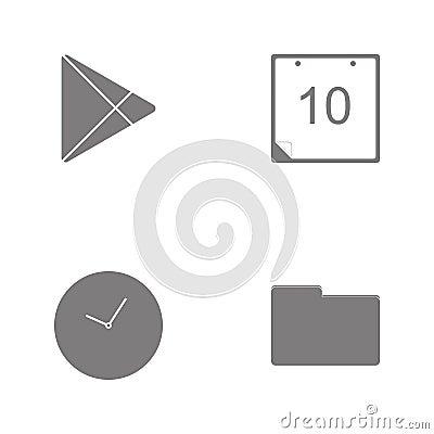Vector illustration set web icons. Elements Folder, Clock, Calendar imageand Vector social community play marketicon Cartoon Illustration