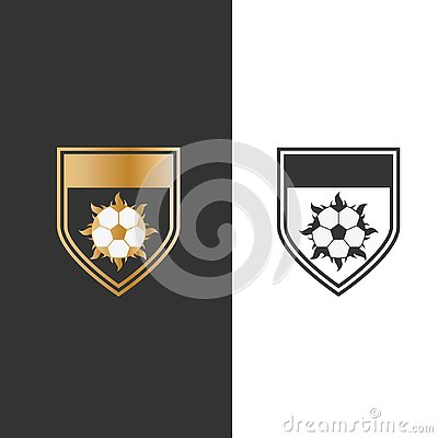 Vector illustration shield fire and ball for sport icon logo design Vector Illustration